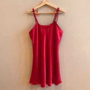 Red rayon silk slip dress with 3 straps